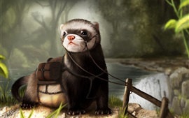 Preview wallpaper Otter, art drawing