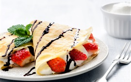 Preview wallpaper Pancake, strawberry, cream, cup, breakfast