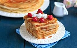 壁紙のプレビュー パンケーキ、果実、ラズベリー、クリーム、シロップ、デザート