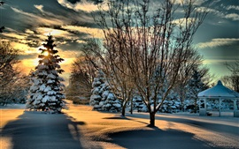 Preview wallpaper Park, snow, trees, gazebo, winter, clouds, sunshine