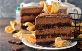 Pedaço de bolo de chocolate, sobremesa