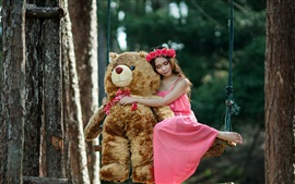 Preview wallpaper Pink skirt girl and teddy bear on swing
