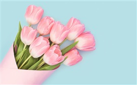 Preview wallpaper Pink tulips, bouquet, blue background
