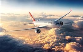 Vol d'avion, nuages, soleil, ciel