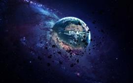 Preview wallpaper Planet, destruction, rocks, space