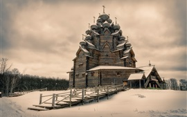 Preview wallpaper Pokrovskaya Church, Leningrad Oblast, Russia, winter, snow