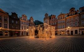 Polonia, Poznan, noche, hermosa casa de luces