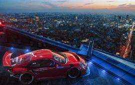 Porsche carro esporte, telhado, cidade