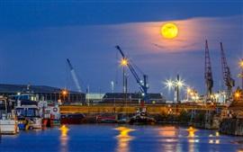 Preview wallpaper Port, cranes, sea, moon, night