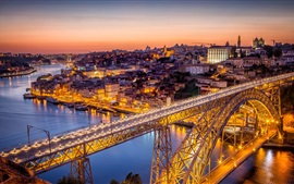 Portugal, bridge, night, city, river, lights
