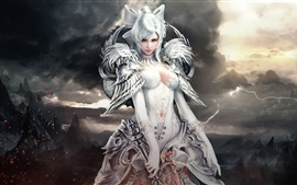 Menina bonita, guerreiro, arte da fantasia