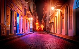 Porto Rico, San Juan, rua, noite, casas, luzes