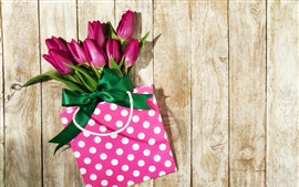 Preview wallpaper Purple tulips, bag, gift, wood background