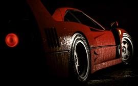 Vista lateral del coche deportivo rojo Ferrari, gotas de agua, noche