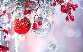 Preview wallpaper Red berries, Christmas balls, decoration, sparks