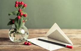 미리보기 배경 화면 빨간 열매, 종이, 연필