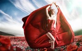 Chica de vestido rojo, pose, flores, fotografía de arte