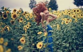 Preview wallpaper Red hair girl, sunflowers