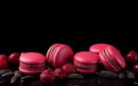 Preview wallpaper Red macaron, berries, black background