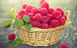 Preview wallpaper Red raspberry, berries, basket