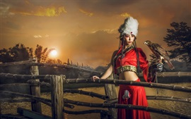 Preview wallpaper Red skirt girl, retro style, eagle, fence, sunset