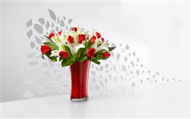 Preview wallpaper Red tulips and white lily, bouquet, vase