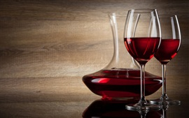 Preview wallpaper Red wine, bottle and glass cups