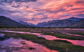 Preview wallpaper River, clouds, mountains, grass, dusk