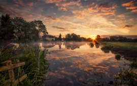 Preview wallpaper River, trees, grass, house, clouds, morning, sunrise, fog