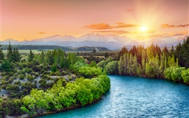 Preview wallpaper River, trees, sunset, sun rays