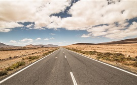 Дорога, облака, небо, пустыня