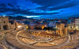 Preview wallpaper Roman theatre, Spain, night, lights, ruins