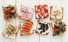 Preview wallpaper Sandwiches, toast, variety of flavors