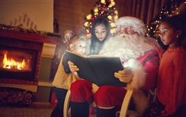 Preview wallpaper Santa Claus and children reading book, Christmas, new year