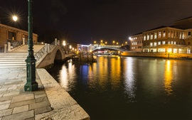 Preview wallpaper Santa Croce, Venice, Italy, night, river, bridge, lights