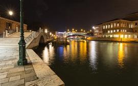 Santa Croce, Venice, Italy, night, river, bridge, lights
