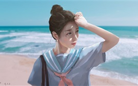 Preview wallpaper Schoolgirl, sea, beach, watercolor painting