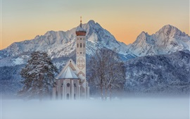 Preview wallpaper Schwangau, St. Coloman, morning, snow, trees, mountains, winter, Germany