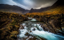 Preview wallpaper Scotland, Highland, river, creek, mountains, grass, fog