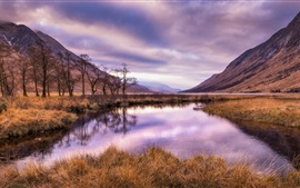 Preview wallpaper Scotland, mountains, river, grass, nature landscape