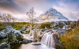 Preview wallpaper Scotland, stream, mountain, waterfall, trees