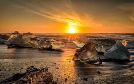 Mar, costa, gelo, pôr do sol, raios de sol
