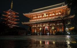 Aperçu fond d'écran Temple Sensoji, Japon, nuit