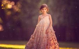 Preview wallpaper Short hair child girl, beautiful skirt