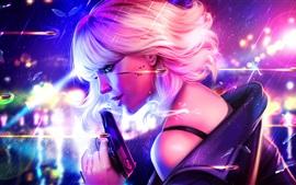 Aperçu fond d'écran Sourire fille blonde, tueur, pistolet, balles, fantaisie