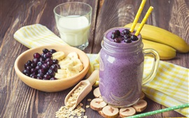 Preview wallpaper Smoothies, milk, bananas, berries