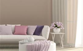 Диван, подушка, цветы, шторы, яркий стиль