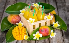 Preview wallpaper Some plumeria flowers, juice, mango, bottles
