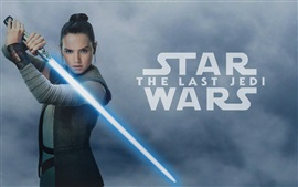Preview wallpaper Star Wars: The Last Jedi, Daisy Ridley, laser sword