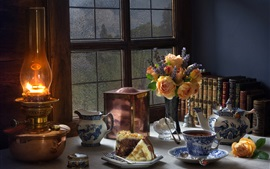 Preview wallpaper Still life, flowers, books, tea, window, lamp, cake